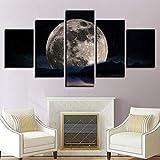 5 piezas cuadro sobre lienzo imagen,cuadro decorativo grande,Cuadro sobre Impresión Lienzo 5 Piezas Noche oscura de luna llena cuadro decorativo abstracto salon dormitorio Listo para Colgar Marco