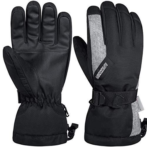 coskefy Guanti Invernali Guanti Sci Impermeabili da Uomo e Donna Guanti Neve Termico Antivento Sottoguanti Sci Termici con 3M Thinsulate Isolation Ski Gloves, Nero
