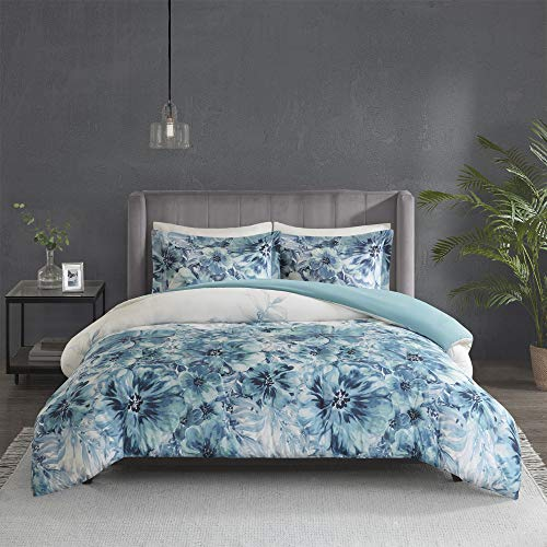 Madison Park 100% Cotton Duvet Beautiful Floral Design All Season, Breathable Comforter Cover Bedding Set, Matching Shams, King/Cal King, Enza Teal 3 Piece