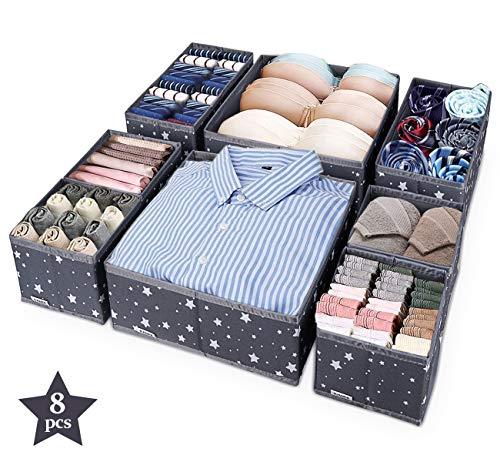 ilauke Set di 8 Cassetto Organizer Armadio Divisori Pieghevole Storage Box Cassetto Organizzator per Biancheria Intima, Scatole Stoccaggio Calzini, Reggiseni, Calze