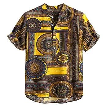 Exteren_Mens Mens Summer Casual Shirts Multi Color Lump Ethnic Printed Chest Pocket Short Sleeve Round Hem Loose Blouse
