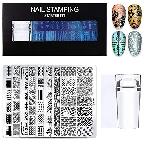 MOPOIN Nagelstempel Set, 10 Stück Nail Art Plates, Stempelset enthalten 8 Nail Stamping Plates mit Stempel und Schaber, Nagel Zubehör für Maniküre DIY Image Drucken Nageldesign