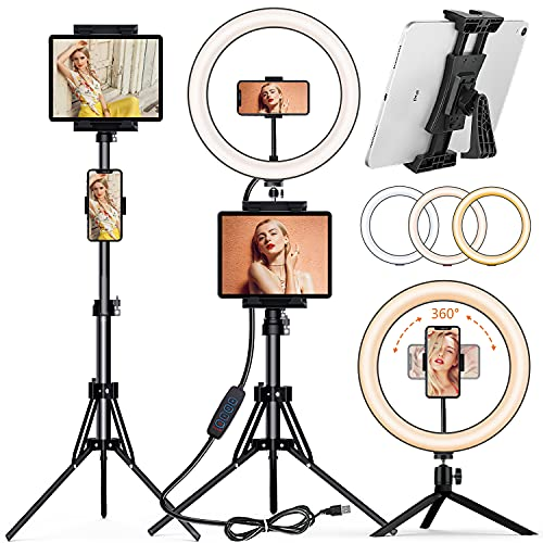 """12"""" Selfie Ring Light with 60"""" Tripod Stand and Mini Desktop Tripod, PEYOU LED Ring Light Tripod with 4 Phone Tablet Holders & Remote Shutter for Live Stream/Makeup/TiKTok, Compatible with iPhone iPad"""