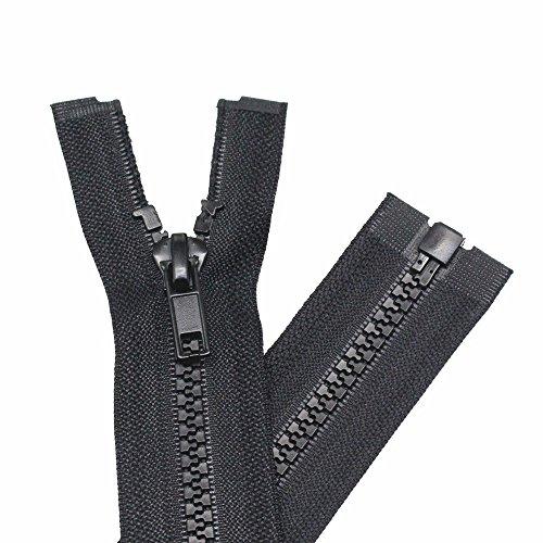 YaHoGa 2 Stück 90 cm Reißverschluss Kunststoff 5mm teilbar Reissverschluss Reißverschluss für Jacken Schwarz (90 cm)