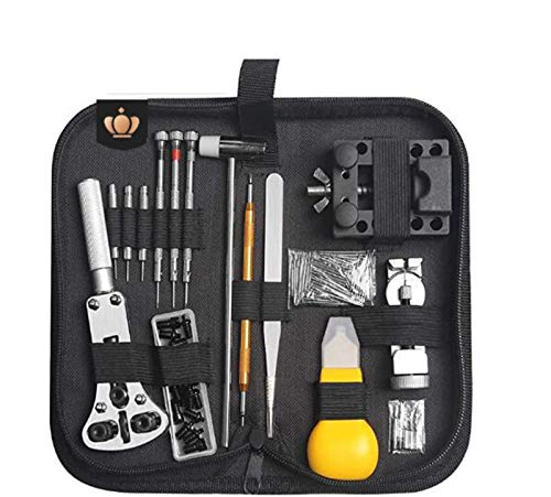 Juego de herramientas de relojero de 147 piezas, herramientas de relojero para reparación profesional con abridor de caja ajustable para la mayoría de relojes en bolsa de nailon