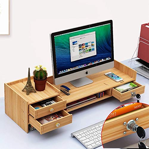 Amigogizmo Bamboo Office Monitor Riser Stand Adjustable Desk Organiser with Drawers, Cherry