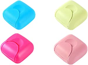 DADIWEY 4 Pcs Portable Travel Soap Container Case Box Holder, Plastic Soap Case Organizer for Home, Bathroom, Hiking, Camping and Other Outdoor Activities (Blue Green Pink, Hot Pink)