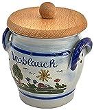 vivApollo Knoblauchtopf mit Holzdeckel Vorratsdose Original westerwälder Kannenbäckerland salzglasierte Steinzeug Keramik (OneSize, Idas Garten)