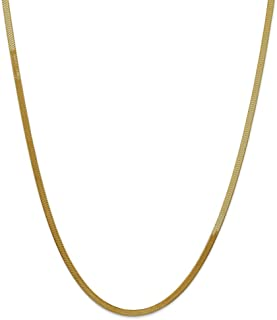 Solid 14k Yellow Gold 3.0mm Silky Herringbone Chain Necklace - with Secure Lobster Lock Clasp