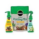 Miracle-Gro Indoor Potting Mix, Indoor Plant Food & Leaf Shine - Bundle of...