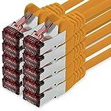 freiwerk Cable de Red Cat.6 5m Naranja - 10 x Cable Ethernet Lankabel Cat6 LAN Cable de Red Sftp Pimf Patch Cable 1000 Mbit s Compatible con Cat5 Cat5e Cat6a Cat7 Cat8