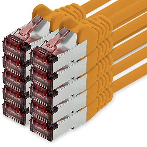 1CONN Cable de Red Cat6 2m Naranja - 10 x Cable de conexión LAN Cat 6 Cable de Red LAN Sftp Pimf Lszh Cobre 1000 Mbit s