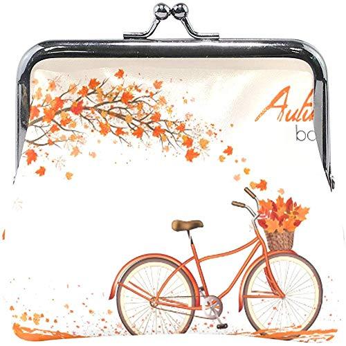 Árbol de otoño Hojas caídas con Bicicleta Amarilla Monedero Lindo Monedero Retro...