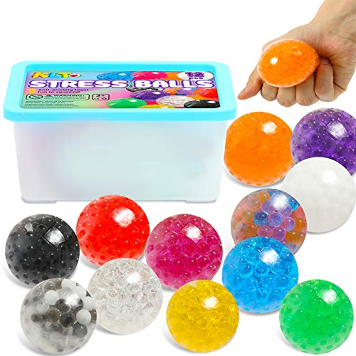 KLT 12 Pack Stress Balls Sensory Toys for Kids Adults Stress Relief, Fidget Squeeze Balls with Water Beads, Squishy Balls for Autistic Children, Soft Stretchy Toy Set for Anxiety Relief