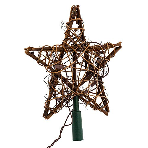 "Kurt Adler 9"" Eco Country Natural Brown Rattan Star Christmas Tree Topper - Clear Lights"