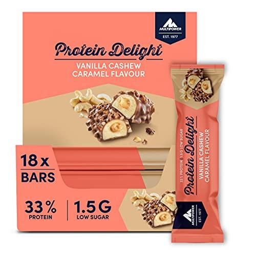 Multipower Protein Delight Eiweißriegel – 18 x 35 g Protein Riegel Box (630 g) – Leckerer Energieriegel – Vanilla Cashew Caramel