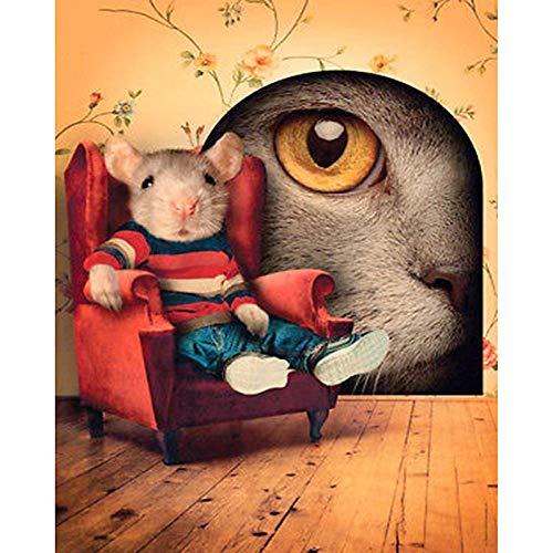 DIY Pintar por Numeros para Adultos, Pintura al óleo Kit de Pintura por Números sobre Lienzo con Pinceles, Decoraciones para el Hogar -Ratón sofá rojo -40x50cm