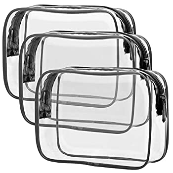 TSA Approved Toiletry Bag Packism Clear Makeup Bag Waterproof Quart Size Bag Travel Makeup Cosmetic Bag for Women Men Carry on Airport Airline Compliant Bag 3 Pack Black