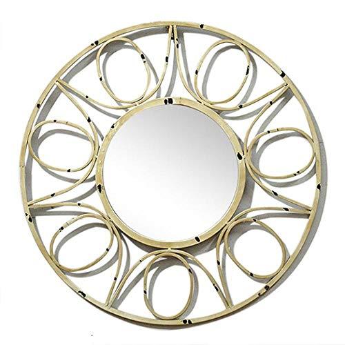 YBGW Espejos De Pared Grandes Vintage Espejo De Pared De Metal Redondo Artesanal Rústico Vintage Decorativo Espejos para Baño Espejos De Pared