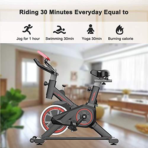 51UnUsbhDGL - Bicicleta Estática| Bicicleta de Interior ,6 Ajustes de Altura de Reposabrazos y Cojines,Magnetorresistencia ilimitada,Monitor LCD de Frecuencia Cardíaca, Entrenamientos cardiovasculares en casa.