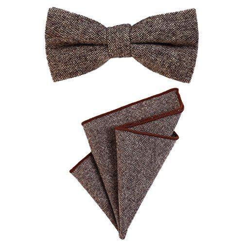 DonDon Herren Fliege 12 x 6 cm gebunden längenverstellbar und Einstecktuch 23 x 23 cm farblich passend aus Baumwolle braun schwarz beige