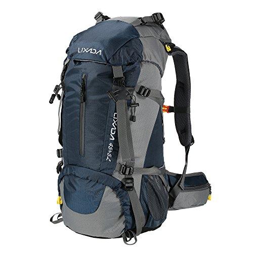 Lixada Mochila de Senderismo 50L/60L con Cubierta Impermeable Mochila de Marcha Trekking Camping Deporte Al Aire Libre