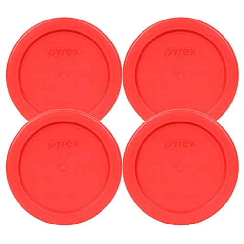Pyrex 7202-PC 4' Red 1 Cup, 236mL Round Storage Lid 4 Pack Bundle for Glass Bowl