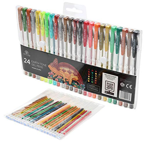 Art-n-Fly 24 Earth Tone Gel Pen Set with Natural and Brown Colors for Animal and Nature drawing - Includes 24 Refills
