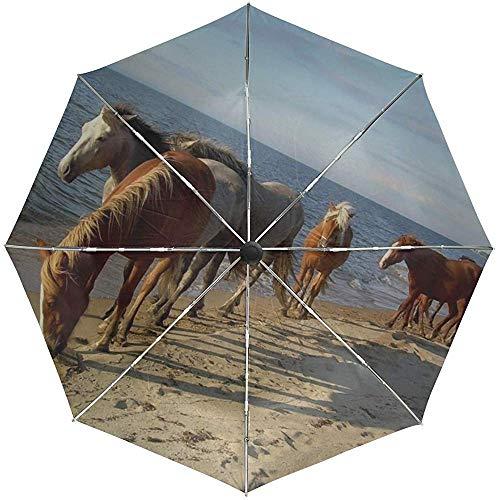 Paraguas automático Caballo Playa Arena de mar Rebaño Viaje Conveniente A Prueba de Viento Impermeable Plegable Automático Abrir Cerrar