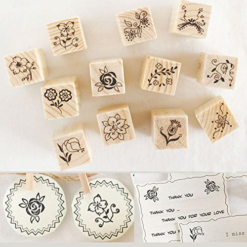 Shopline 12 Pieces Vintage Stamps, Wooden Rubber Stamps with Flower Lace for Letters Diary Craft Scrapbooking
