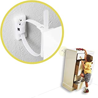 Furniture Straps (10 Pack) Baby Proofing Anti Tip Furniture Anchors Kit, Cabinet Wall Anchors Protect Toddler and Pet from Falling Furniture, Adjustable Child Safety Straps Earthquake Resistant