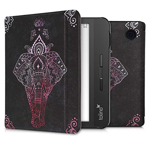 kwmobile Klapphülle kompatibel mit Tolino Vision 5 - Hülle eReader - Elefant Zeichnung Pink Anthrazit