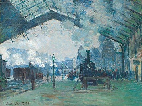 LuxHomeDecor Quadro Stampa su Pannello in Legno MDF Claude Monet Arrival of The Normandy Train, Gare Saint-Lazare Misura 80x60 CM Bordo Noce