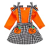 Thanksgiving Outfits Toddler Baby Girl Skirts Sets Ruffle Top + Turkey Dot Overalls Suspender Dress Fall Winter Clothes 1-5T (Plaid and Pumpkin, 4-5T)