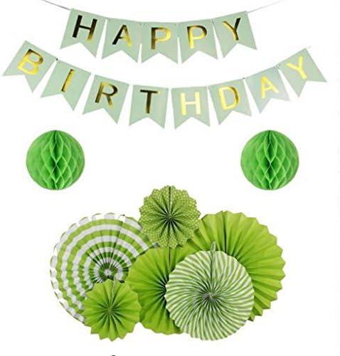 Sogorge Green Birthday Party 訳あり Supplies セール特別価格 Decorations Happy