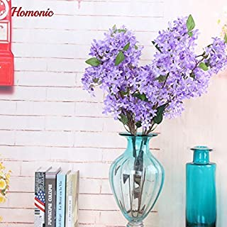 ShineBear Outstanding Artificial Silk Lilac Flowers 4 Branches 1 Bouquet Lilac Simulation Silk Flower Bride Bouquet New Year Home Party - (Color: Purple)