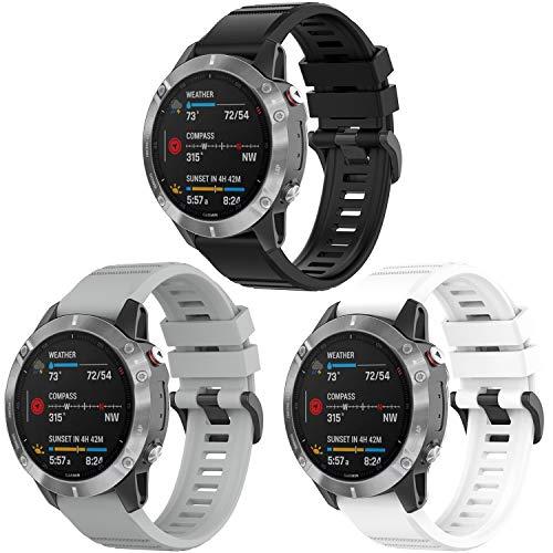 Vozehui Fenix 6 Correa de reloj de silicona suave de 22 mm de ancho, pulsera ajustable para Fenix 6 PRO GPS/Fenix 6 Sapphire GPS/Garmin approach s62/Fenix 5 plus/Forerunner935/Garmin instinct
