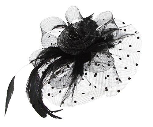 EOZY Tocado de Plumas con Flor para Mujer Fiesta Boda Vintage Elegante