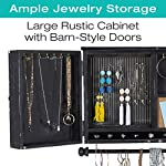 Rustic Wall Mounted Jewelry Organizer with Wooden Barndoor Decor. Jewelry holder for Necklaces, Earings, Bracelets, Ring Holder, and Accessories. Includes hook organizer for hanging jewelry (Black) 6