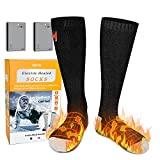 Electric Heated Socks, Battery Heated Socks, Electric Thermal Warming Socks, Winter Warm Cotton Heat Socks for Men Women Outdoor Camping Fishing Cycling Motorcycling Skiing Hunting Hiking (Black)