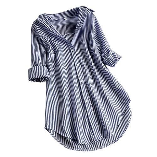 LANSKRT Camisetas Mujer Talla Grande Blusas Verano Elegantes Manga Larga A Rayas Sueltas T Shirt Tops con Botones Camisas Jersey S-XXXXXL