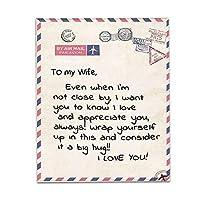 私の妻への毛布 夫から 私の妻への愛の手紙 パーソナライズされました 暖かいベッドスロー 軽量 フランネルの毛布のキルト 記念日/誕生日/新年の贈り物,B,150*200cm