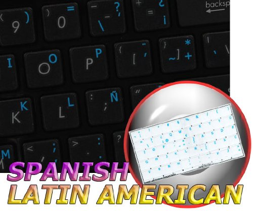 Spanish (Latin American) Keyboard Labels Layout ON Transparent Background with Blue, Orange, RED, White OR Yellow Lettering (14X14) (Blue)