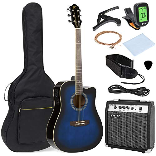 commercial thinline acoustic electric guitar Best Choice Products Full Size 41 Inch Cutaway Acoustic Electric Guitar Kit, 10 Wat Amp, Capo, Electronic Tuner, Case, Strap, Pick (Blue)