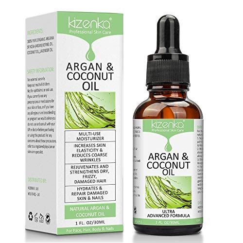 kizenka Aceite de argán y coco para el cuidado de la piel, mejora la hidratación de la piel y aumenta la elasticidad de la piel, estimula el crecimiento del cabello seco y dañado, protector de uñas