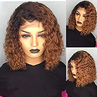 GGOKOK 8A Brazilian Virgin Human Hair Wigs 150% Density Curly Bob Lace Front Human Hair Wigs Two Tone Lace Front Wigs Bob Lace Front Remy Hair Wigs for Black Women Pre-Plucked Wig (1B/30) 8