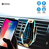 Wireless Car Charger Mount, OONOL Automatic Clamping Qi 10W 7.5W 5W Fast Chair Vent Phone Induction Holder Compatible with iPhone 8/8 Plus, iPhone X, Samsung S6 S6edge S7 S7edge S8 S8+ S9 (gold)