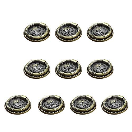 Handtag Vintage Antik Skåpsluckor Bokhylla Ringhandtag 10st 46mm Diameter är mycket lämplig för ditt skåp som är lämplig för alla typer av möbler Mimitool (Color : Vintage Bronze, Size : One Size)