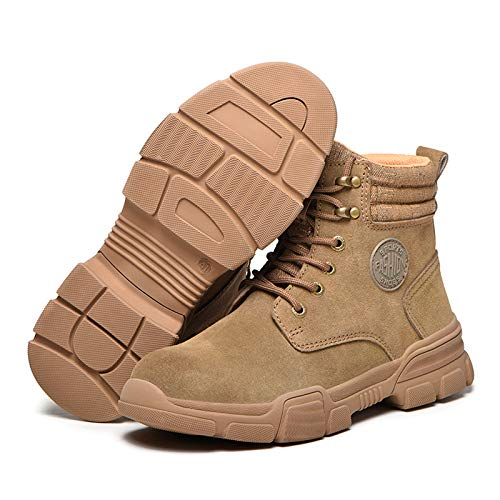 HOUJIA Zapatos de Trabajo,Botas de Seguridad con Punta de Acero Hombre,Sra Antideslizante Anti Estático Zapatos de Seguridad Zapatos Seguridad,Anti-Piercing Antideslizante,Caqui,EU 35-46
