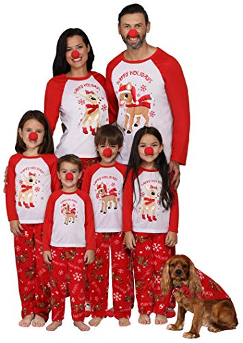 Rudolph The Red-Nosed Reindeer Matching Family 3-Piece Pajama Sets Red Nose Included, Men, Size Large